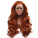 BESTUNG Fashion Glueless Copper Red Long Natural Wavy Free Part Lace Front Wigs Heat Resistant Synthetic Hair Wig for Women 24Inch (Copper Red) (Color: Copper Red, Tamaño: 24 Inch)