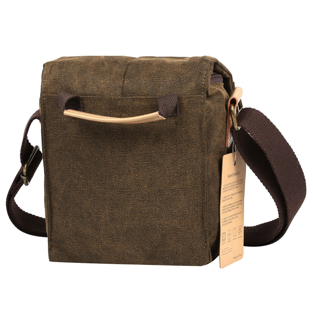 S-ZONE Vintage Waterproof Canvas Leather Trim DSLR SLR Shockproof Camera Shoulder Messenger Bag 2