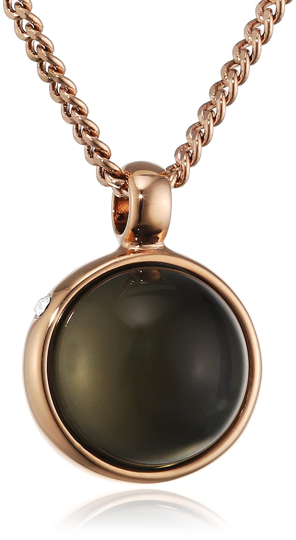 Dyrberg/Kern Damen-Kette mit Anhänger 15/02 Glaze Rg Grey Messing teilvergoldet Glas grau 80 cm - 337747