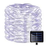 Solar Rope String Lights 100LED(33ft) Solar Powered Copper Wire String Lights Outdoor Christmas Starry Fairy Decoration Lights for Christmas Tree, Wedding, Party, Garden, Lawn, Patio, Halloween(White) (Color: 33ft/100LED-Rope White, Tamaño: 33ft/100LED-Rope Light)
