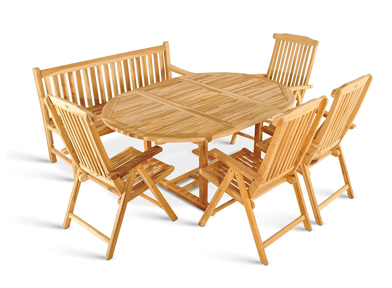 SAM® Teak Holz Gartengruppe Gartenmöbel 6tlg, 1 x Auszugstisch Borneo + 4 x Klappstuhl Aruba + 1 x 3er Sitzbank Caracas bestellen