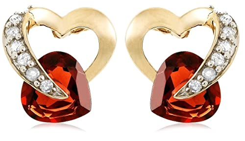 10K Yellow Gold Diamond and Garnet Heart-Shaped Earrings