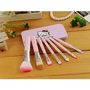 7fb51b435 Cute Hello KItty 7PCS Makeup Brush Set Foundation Eyebrow Eyeliner Blush  Cosmetic Concealer Brushes Pink (Pink)