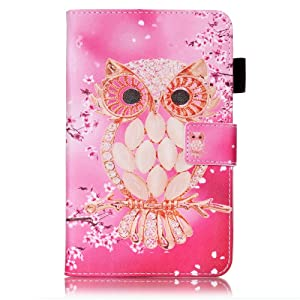 Galaxy Tab A 7.0 Case,UUcovers Synthetic Leather Stand Case Wallet Case [Card Holder] Flip Folio Wallet Case Cover for Samsung Galaxy tab A 7.0 T280/T285-Cherry Owl (Color: 02 Cherry Owl)