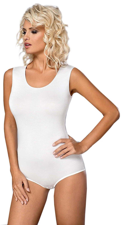 Vestiva Damen Body Ärmellos Trägerbody Bodysuit Baumwolle Tanz Body Schwarz Weiß BD01 (S - 36, Weiß)