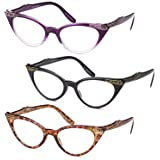 GAMMA RAY 3pk Womens Chic Cat Eye Vintage Reading Glasses - 2.00 Magnification (Color: Cat Eye, Tamaño: 2.00x)