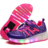 UBELLA Kids Boys Girls Light Weight Shoes Single Wheel Roller Skate Shoes LED Light Up Sneakers (Color: Purple, Tamaño: 3.5M US Big Kid)