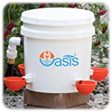 Oasis Chicken Waterer Kit (Bucket NOT Included) | Complete with Oasis Watering Cups, Bucket Float Valve and Drill Bits | 4 Cup Kit (Orange) (Color: Orange)