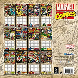 Official Marvel Retro Classic 2016 Square Wall Calendar (Spiderman, Iron Man, The Hulk, Thor)