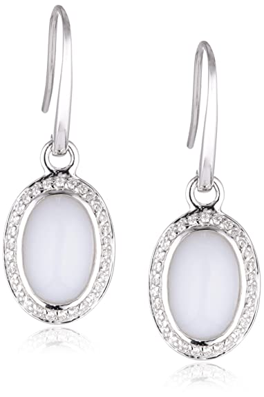 Viventy Women's Earrings 925 Sterling Silver with 60 White Zirconia and 2 White Moonstones 763484