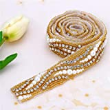 Gold Beaded Bridal Rhinestone Applique Trim 1 Yard with Crystal Pearl for Wedding Dress Sash Prom Party Formal Belts (36x1.2in) (Color: 001-944gold, Tamaño: 36 Lx1.2 W in)