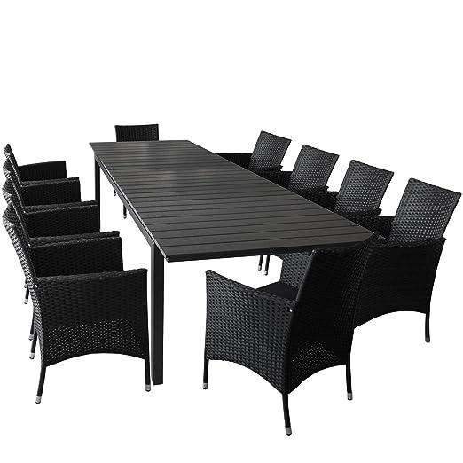 11er Set Gartenmöbel Ausziehtisch mit Polywood Tischplatte 280/220x95cm 10x Rattansessel mit Polyrattanbespannung inkl. Sitzkissen Gartengarnitur