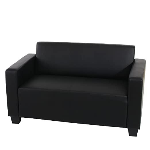 2er Sofa Couch Lyon Loungesofa Kunstleder ~ schwarz
