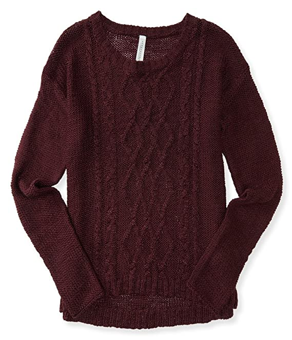 Aeropostale Women's Sheer Cable Sweater
