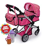 Exquisite Buggy Deluxe POLKA DOTS Doll Pram Stroller with Swiveling Wheels & Adjustable Handle and A Free Carriage Bag With 2 FREE Magic Bottles Included (Color: Polka Dot)