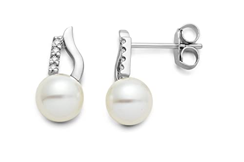 Miore women's 18ct White Diamond and Freshwater Pearl Stud Earrings MG8024E
