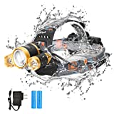 Led Headlamp Flashlight, Heavy-Duty Durable Hands-Free Zoomable Comfortable 5000 Lumens outdoor Led Headlamps Rechargeable With Rotatable Adjustable Head For Running Camping (Gold) (Color: Gold, Tamaño: Small)