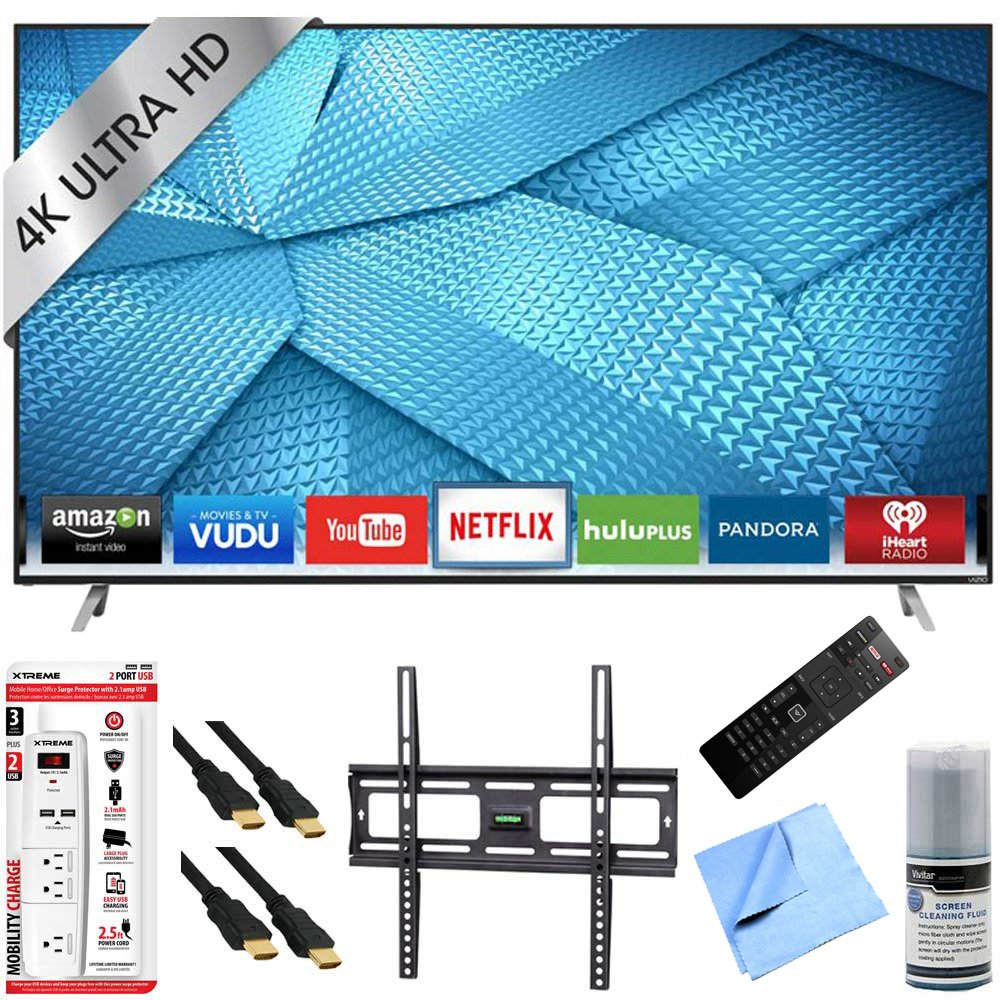 Vizio M50-C1 - 50-Inch 120Hz 4K Ultra HD M-Series LED Smart HDTV Mount/Hook-Up Bundle includes M50-C1 4K Ultra HD Smart TV, Flat Wall Mount Kit, 6 Outlet/2 USB Wall Tap and Microfiber Cleaning Cloth
