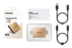 Samsung T5 Portable SSD - 1TB - Rose Gold - USB 3.1 External SSD (MU-PA1T0G/WW) (Color: Gold, Tamaño: 1 TB)