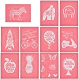 YeulionCraft Self-Adhesive Silk Screen Printing Stencil Mesh Transfers for DIY T-Shirt Pillow Fabric Painting Paper Decoration (11PCS) (Color: 11pcs)