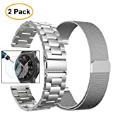 Gear S3 Frontier/Classic Watch Bands, Valkit 22mm Stainless Steel Band, Milanese Loop Mesh Replacement Metal Strap +Screen Protector for Samsung Gear S3 Frontier/Classic Smart Watch/Galaxy Watch 46mm (Color: Silver+Silver)