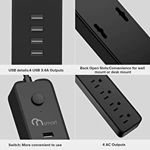 ONSMARTN Surge Protector Power Strip 4 Muti Outlets and 4USB Charging Ports 3.4A Total Output 600J Surge Protector Charging Station 6 Foot Long UL Cord Wall Mount  Black (Color: Black, Tamaño: HOU3434BK/US/L)