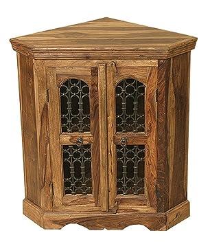 Jali Solid Sheesham Indian Rosewood Corner Cabinet / Solid Rosewood Cabinet / Fully Assembled Corner Cabinet