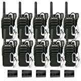 Retevis RT28 Two Way Radios Rechargeable FRS Emergency Alarm VOX Hands Free Walkie Talkies for Adults with Earpiece and USB Charger (10 Pack) (Color: Black)