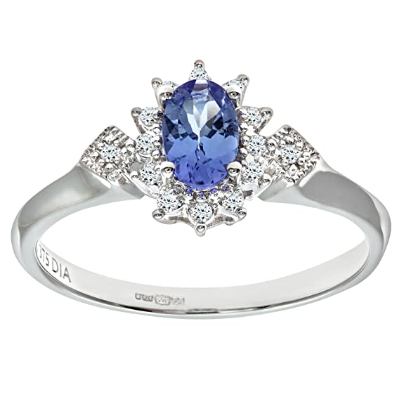 Naava 9ct White Gold Oval Tanzanite Cluster Ring With Diamond Shape Set Shoulders
