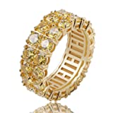 TOPGRILLZ 9mm 2 Rows Round Cut 14K Gold and Silver Plated Iced Out CZ Lab Diamond Eternity Wedding Engagement Band Ring for Men and Women (Golden, 8) (Color: Golden)