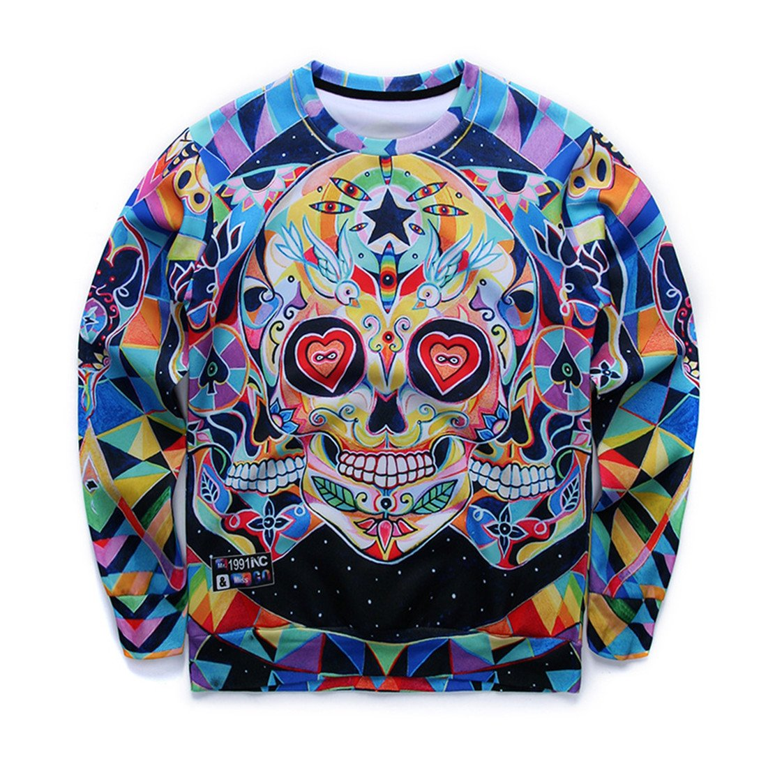 Autumn Hoodies Fashion Cool Skull 3D Print Long Sleeve Tee