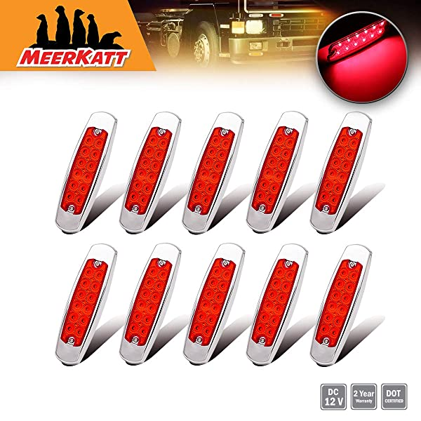 """Meerkatt 6.4/"""" Inch Clear Lens 10 Amber Pack of 20 10 Red Slim Marker LED Surface Mount Waterproof Button Sealed Truck Lights Clearance Lamp Kenworth Peterbilt-style Turn Sign Universal 12v DC BB12 4350358886"""