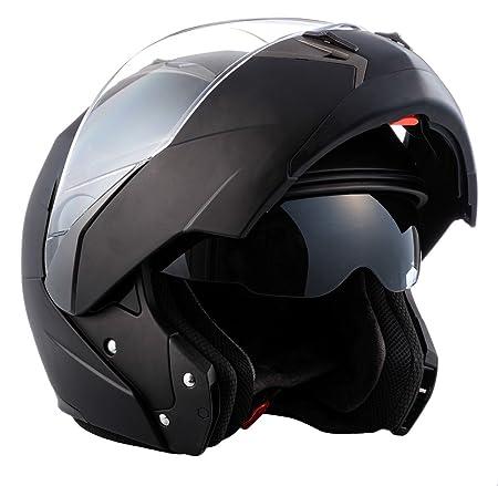 SOXON SF-99 Flip Up helmet - casque modulable moto intégral double pare-soleil avec Visiére Solaire - noir vert - XS S M L XL
