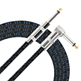 Donner Guitar Cable 10 ft, Premium Electric Instrument Bass Cable AMP Cord 1/4 Right Angle to Straight Black Blue