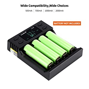 LiitoKala Lii-S4 LCD Display Smart Universal Battery Charger, 2 in 1 Power Bank and Intelligent Charging Without Polarity for Rechargeable Batteries Ni-MH Ni-Cd A AA AAA SC, Li-ion/IMR/LiFePO4 (Color: Lii-S4-xi, Tamaño: Lii-S4-xi)