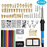 97Pcs Wood Burning Kit, Professional Woodburning Tool with Soldering Iron, Creative Tool Set Adjustable Temperature Soldering Pyrography Pen for Embossing Carving Soldering Tips (New) (Color: New)