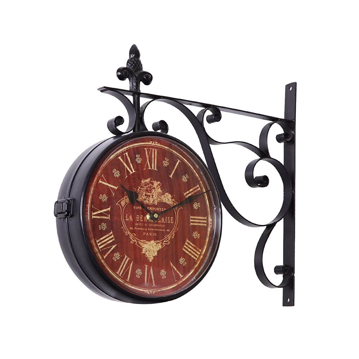 Adeco Iron Red Face Roman Numerals With Scroll Wall Mount