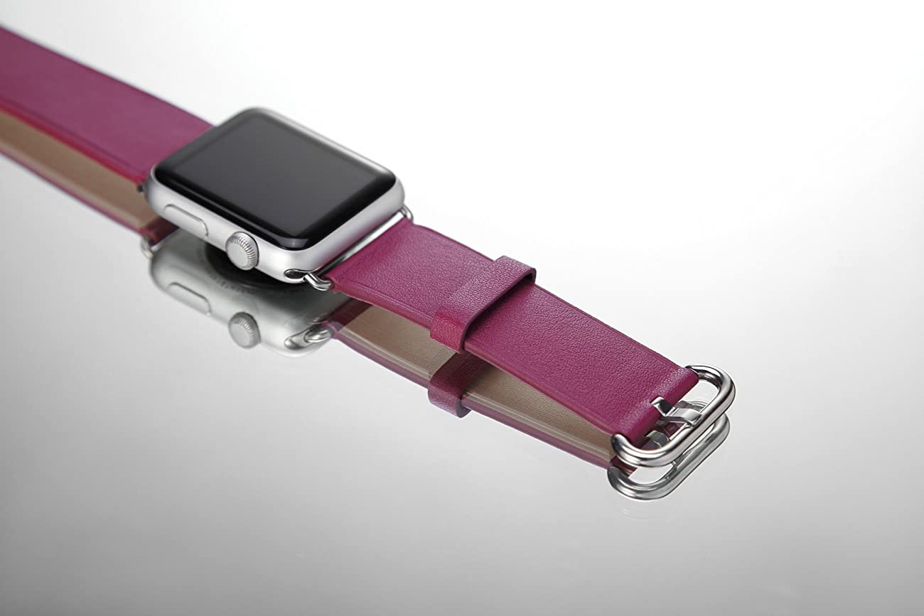 Apple Watch Band, Aisun® Vintage Embossed Genuine Leather strap Wrist Band Replacement with Metal Clasp for Apple Watch All Models (Fuchsia 38mm) 6