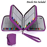 BTSKY Zippered Pencil Case--Canvas 72 Slots Handy Pencil Holders for for Prismacolor Watercolor Pencils, Crayola Colored Pencils, Marco Pencils (Purple) (Color: Purple)