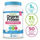 Orgain Organic Plant Based Protein + Superfoods Powder, Vanilla Bean - Vegan, Non Dairy, Lactose Free, No Sugar Added, Gluten Free, Soy Free, Non-GMO, 2.02 lb (Tamaño: 2 Pound)