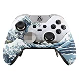 eXtremeRate Patterned Front Housing Shell Faceplate for Xbox One Elite Controller with Thumbstick Accent Rings (The Great Wave) (Color: The Great Wave)