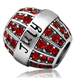 JMQJewelry Birthday Charms Bead For Bracelets (Red, July Birthstone) (Color: Red)