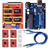 kuman CNC Shield Expansion Board V3.0 +UNO R3 Board + A4988 Stepper Motor Driver With Heatsink for Arduino Kits K75 (CNC Shield+UNO R3+Stepper Motor) (Color: CNC Shield+UNO R3+Stepper Motor)