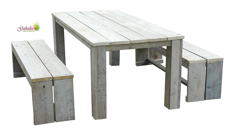 Bauholz Möbel Set Gahalia 3tlg. Tisch 200x100cm und 2x Bank 200x40x46cm günstig bestellen