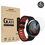 (4-Pack) Tempered Glass Screen Protector for Xiaomi Amazfit, Akwox [0.3mm 2.5D High Definition 9H] Anti Scratch Screen Protector for Huami Amazfit Smartwatch