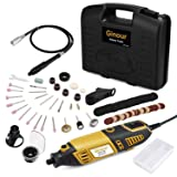 Ginour Variable Speed Rotary Tool Kit with Flex Shaft, 3 Attachments and 105 pcs Accessories for Home Tasks and Crafting Projects (Color: Black and yellow, Tamaño: TPK-PT013US)
