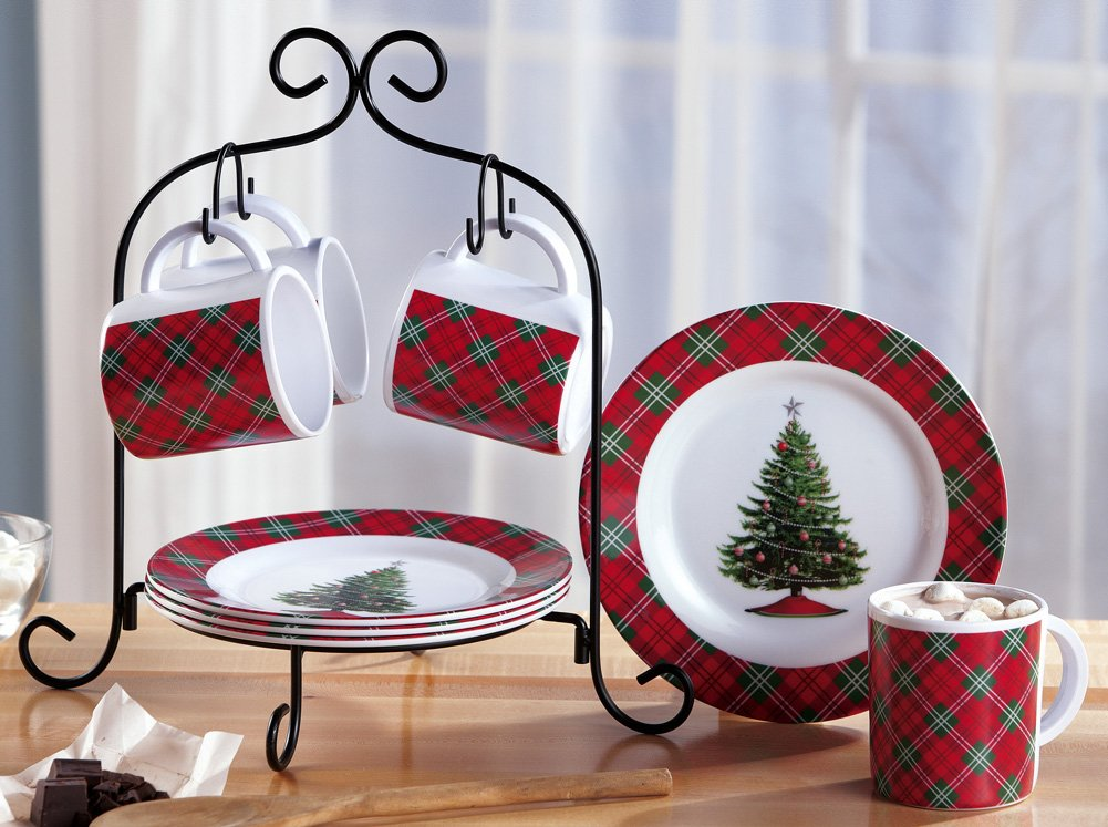 Melamine Holiday Plaid Dessert Serving Set