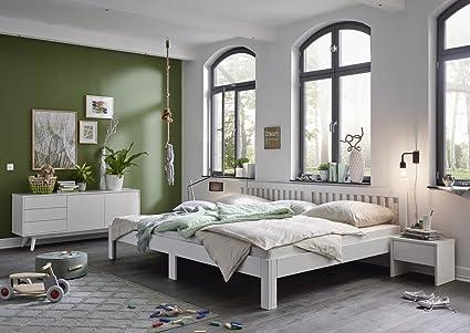 Ecolignum | Familienbett Como (#350280) | 280x200 cm. | Massivholzbett Erle Vollholz | Weiß | Super-Size Bett