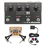 TC Electronic Ditto X4 Looper Effects Pedal BUNDLED WITH Blucoil Power Supply Slim AC/DC Adapter for 9 Volt DC 670mA, 2-Pack of Pedal Patch Cables AND 4-Pack of Celluloid Guitar Picks