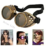 Betan New Sell Diamond Lens Vintage Steampunk Goggles Glasses Welding Cyber Punk Gothic-Copper (Color: Copper)